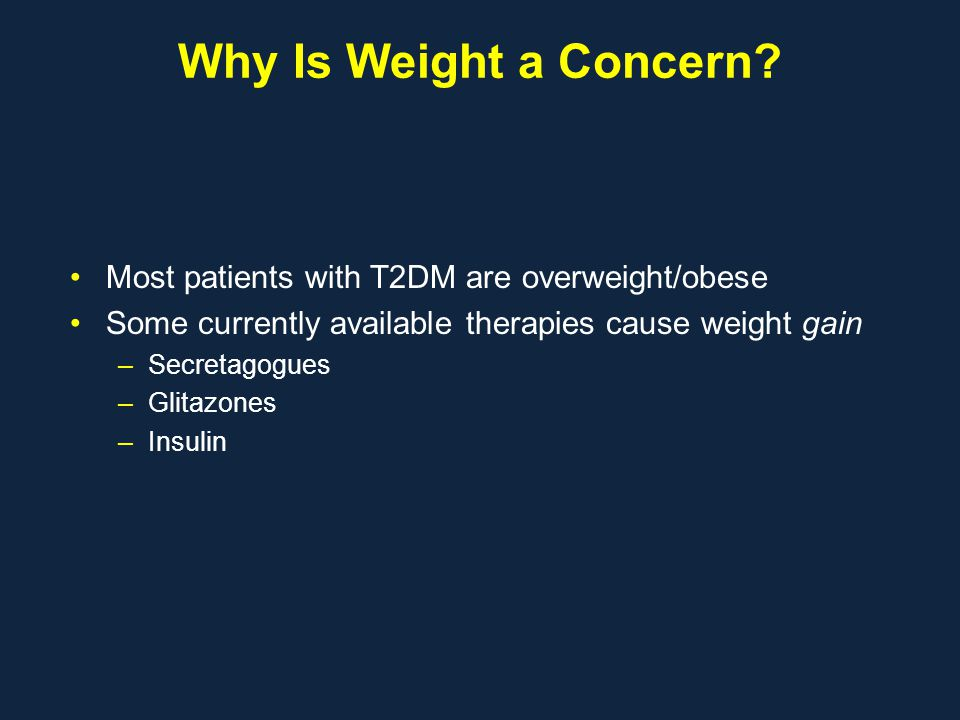 Why Is Weight a Concern? Most patients with T2DM are overweight/obese Some currently available therapies cause weight gain –Secretagogues –Glitazones