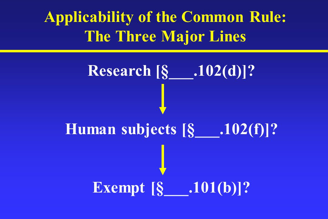 Applicability of the Common Rule: The Three Major Lines Research [§___.102(d)].