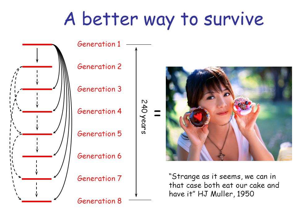 A better way to survive = Generation 1 Generation 2 Generation 3 Generation 4 Generation 5 Generation 6 Generation 7 Generation 8 240 years Strange as it seems, we can in that case both eat our cake and have it HJ Muller, 1950