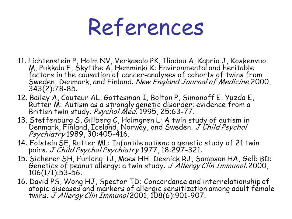 11. Lichtenstein P, Holm NV, Verkasalo PK, Iliadou A, Kaprio J, Koskenvuo M, Pukkala E, Skytthe A, Hemminki K: Environmental and heritable factors in