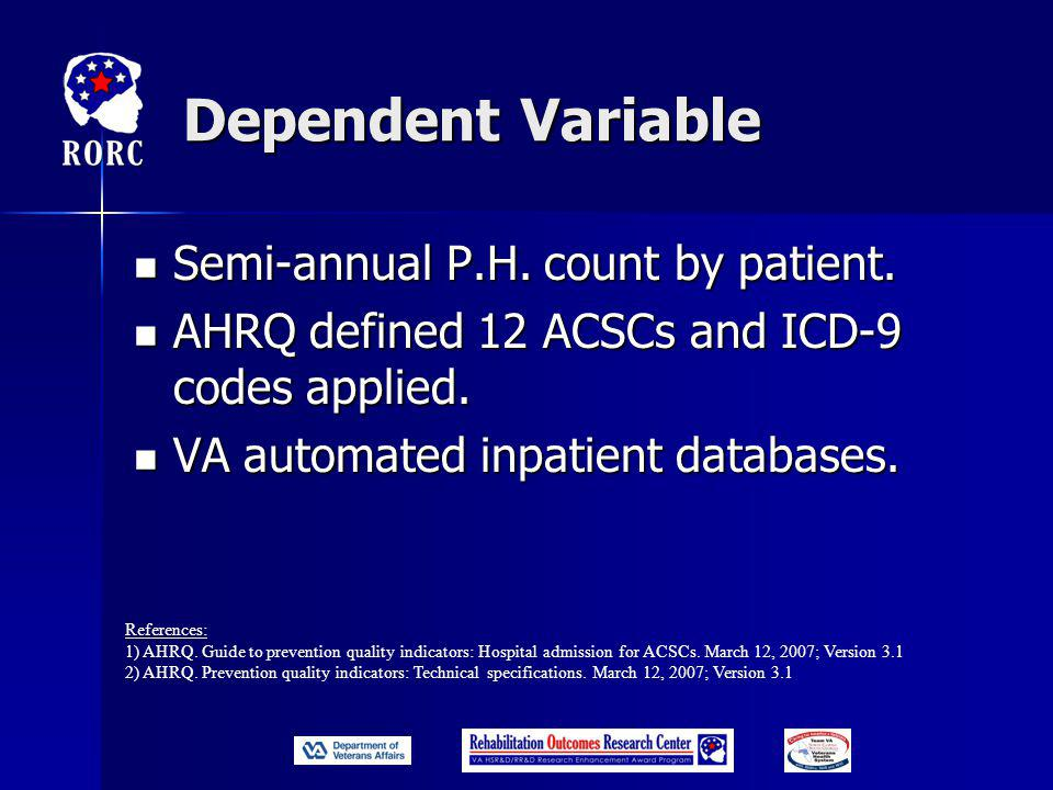 Dependent Variable Semi-annual P.H. count by patient.