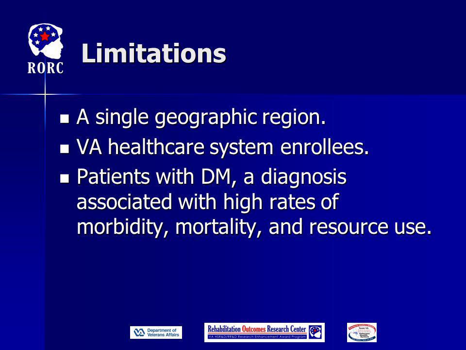 Limitations A single geographic region. A single geographic region.