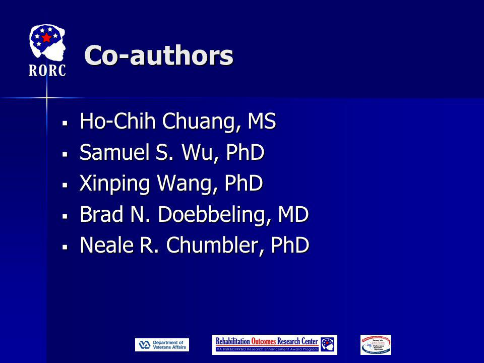 Co-authors  Ho-Chih Chuang, MS  Samuel S. Wu, PhD  Xinping Wang, PhD  Brad N.