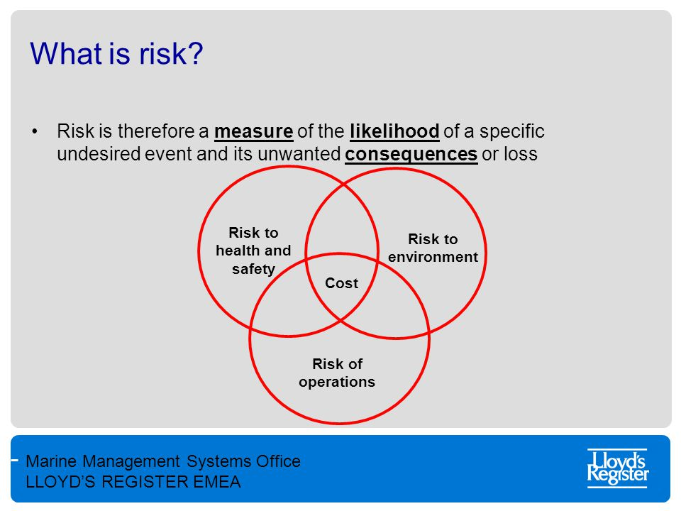 Marine Management Systems Office LLOYD'S REGISTER EMEA What is risk? Risk is therefore a measure of the likelihood of a specific undesired event and i