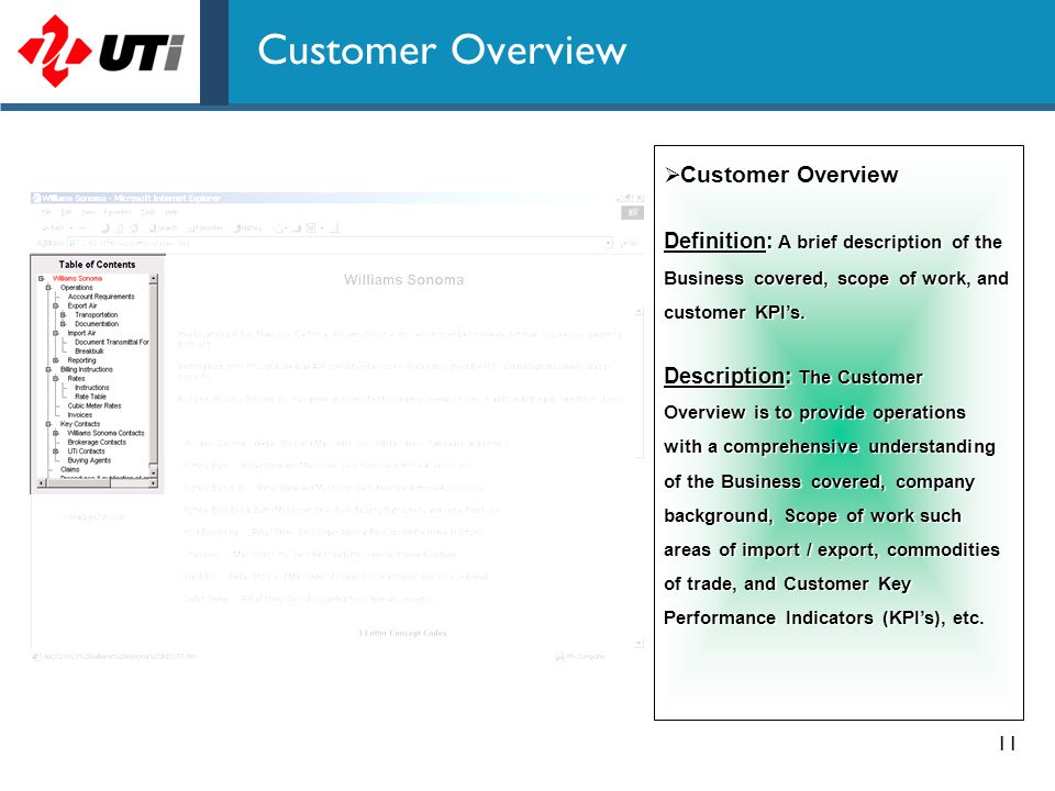 11 Customer Overview  Customer Overview Definition: A brief description of the Business covered, scope of work, and customer KPI's. Description: The