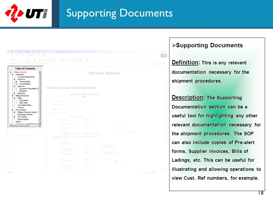 18 Supporting Documents  Supporting Documents Definition: This is any relevant documentation necessary for the shipment procedures. Description: The