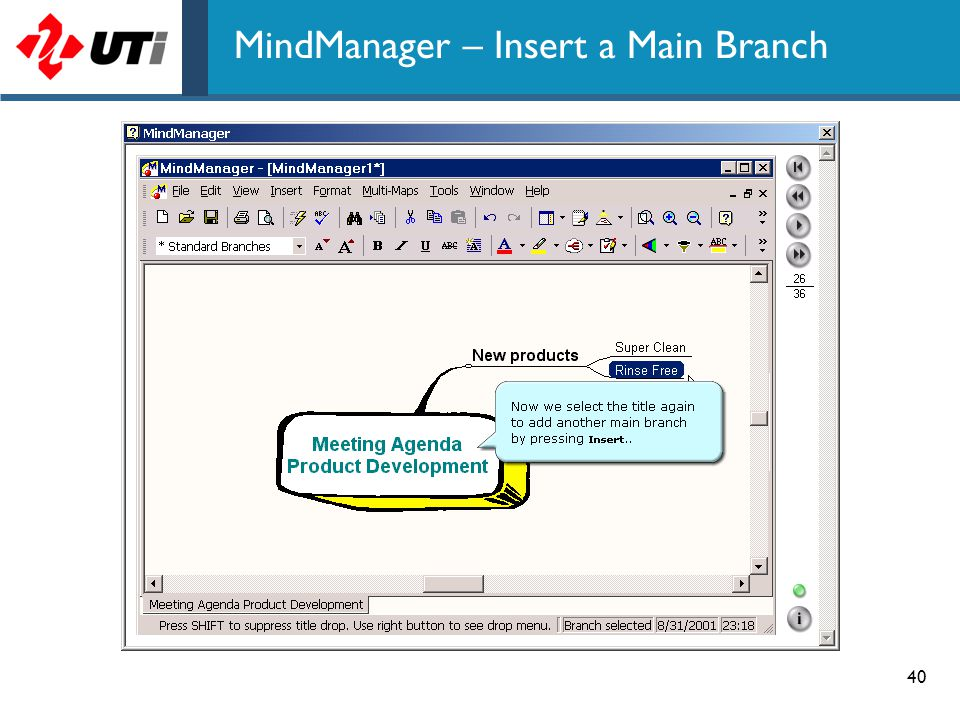 40 MindManager – Insert a Main Branch