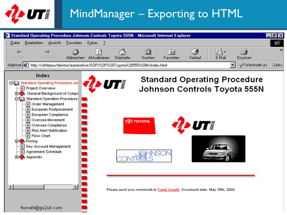 67 MindManager – Exporting to HTML