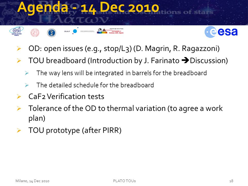 Agenda - 14 Dec 2010  OD: open issues (e.g., stop/L3) (D.