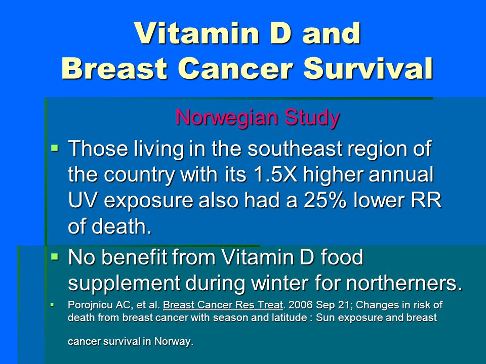 Vitamin D and Breast Cancer Survival Norwegian Study  Premenopausal women diagnosed with breast cancer in the summer had a 15- 25% lower relative ris