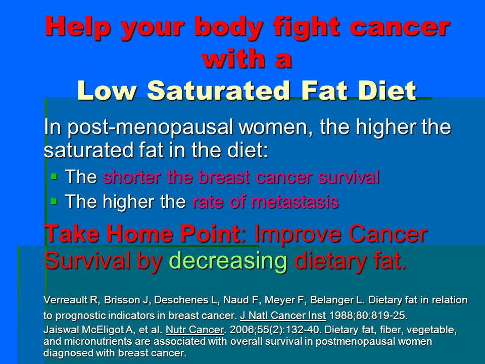 High Fat Diet Increases Risk for Most Common Cancers 1.High dietary fat increases the risk of prostate cancer 2.Diets high in animal fat significantly