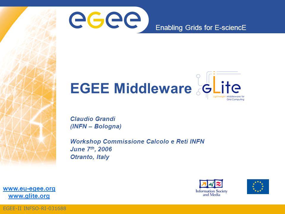 EGEE-II INFSO-RI-031688 Enabling Grids for E-sciencE www.eu-egee.org www.glite.org EGEE Middleware Claudio Grandi (INFN – Bologna) Workshop Commissione Calcolo e Reti INFN June 7 th, 2006 Otranto, Italy