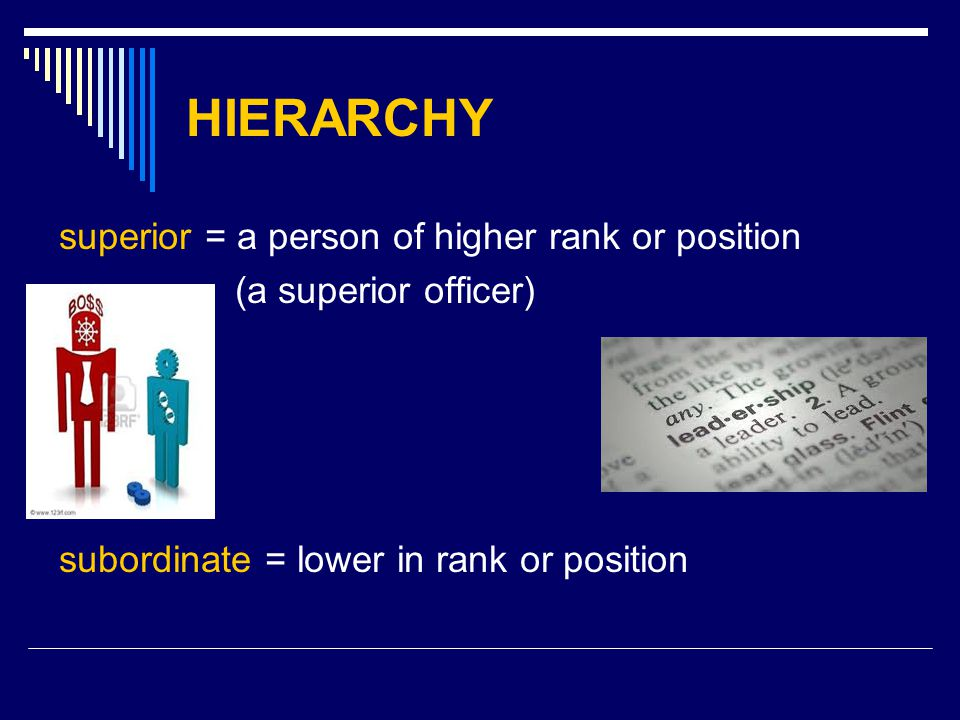 HIERARCHY superior = a person of higher rank or position (a superior officer) subordinate = lower in rank or position