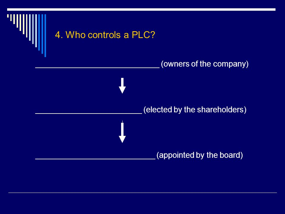 4. Who controls a PLC? ____________________________ (owners of the company) ________________________ (elected by the shareholders) ___________________