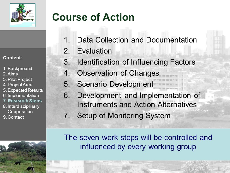 Course of Action 1.Data Collection and Documentation 2.Evaluation 3.Identification of Influencing Factors 4.Observation of Changes 5.Scenario Development 6.Development and Implementation of Instruments and Action Alternatives 7.Setup of Monitoring System The seven work steps will be controlled and influenced by every working group Content: 1.Background 2.Aims 3.Pilot Project 4.Project Area 5.Expected Results 6.Implementation 7.Research Steps 8.Interdisciplinary Cooperation 9.Contact