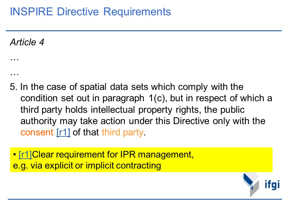 INSPIRE Directive Requirements Article 4 … 5. In the case of spatial data sets which comply with the condition set out in paragraph 1(c), but in respe