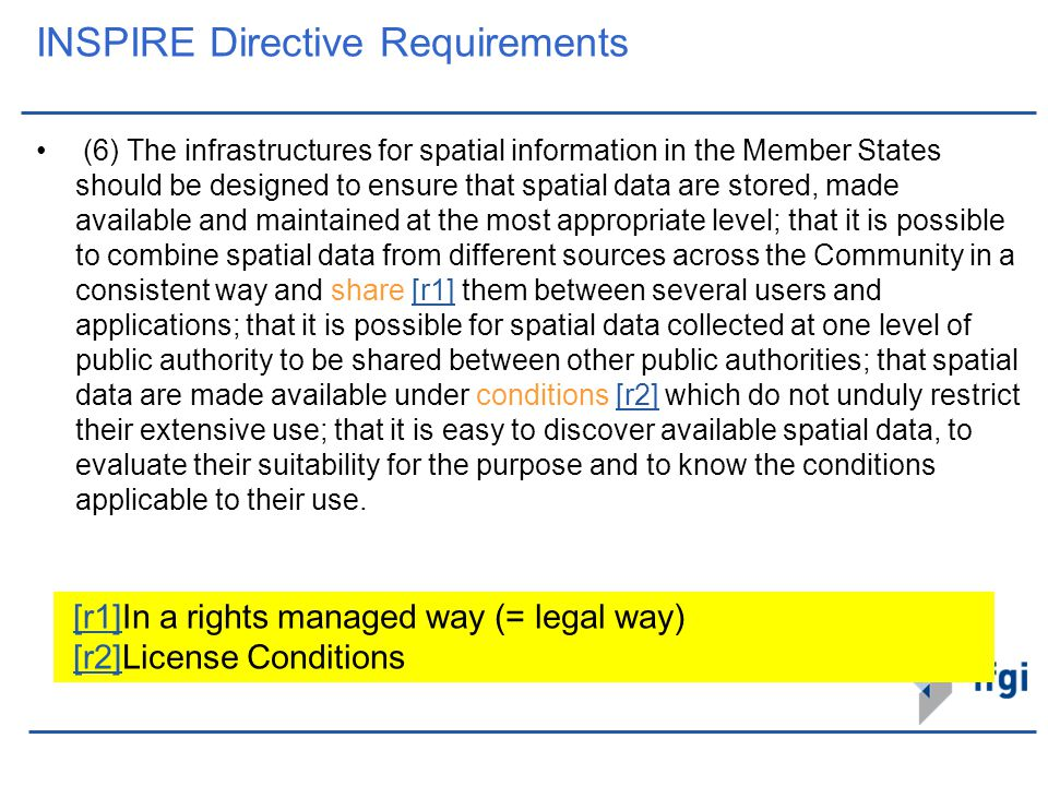 INSPIRE Directive Requirements (6) The infrastructures for spatial information in the Member States should be designed to ensure that spatial data are