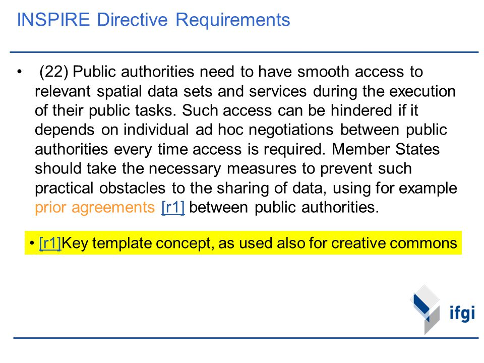 INSPIRE Directive Requirements (22) Public authorities need to have smooth access to relevant spatial data sets and services during the execution of t