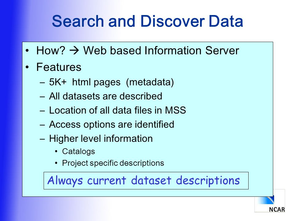 Search and Discover Data How.