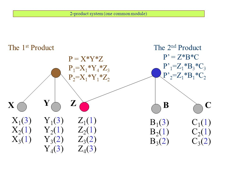 2-product system (one common module) The 1 st Product X1(3)X1(3) X2(1)X2(1) X3(1)X3(1) P = X*Y*Z P 1 =X 1 *Y 4 *Z 3 P 2 =X 1 *Y 1 *Z 2 Y1(3)Y1(3) Y2(1