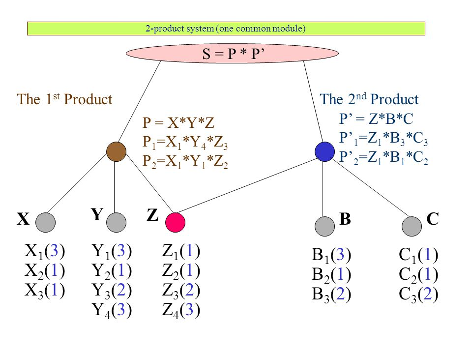2-product system (one common module) The 1 st Product S = P * P' X1(3)X1(3) X2(1)X2(1) X3(1)X3(1) P = X*Y*Z P 1 =X 1 *Y 4 *Z 3 P 2 =X 1 *Y 1 *Z 2 Y1(3)Y1(3) Y2(1)Y2(1) Y3(2)Y3(2) X Y Z1(1)Z1(1) Z2(1)Z2(1) Z3(2)Z3(2) C1(1)C1(1) C2(1)C2(1) C3(2)C3(2) Z C The 2 nd Product B1(3)B1(3) B2(1)B2(1) B3(2)B3(2) B Z4(3)Z4(3)Y4(3)Y4(3) P' = Z*B*C P' 1 =Z 1 *B 3 *C 3 P' 2 =Z 1 *B 1 *C 2