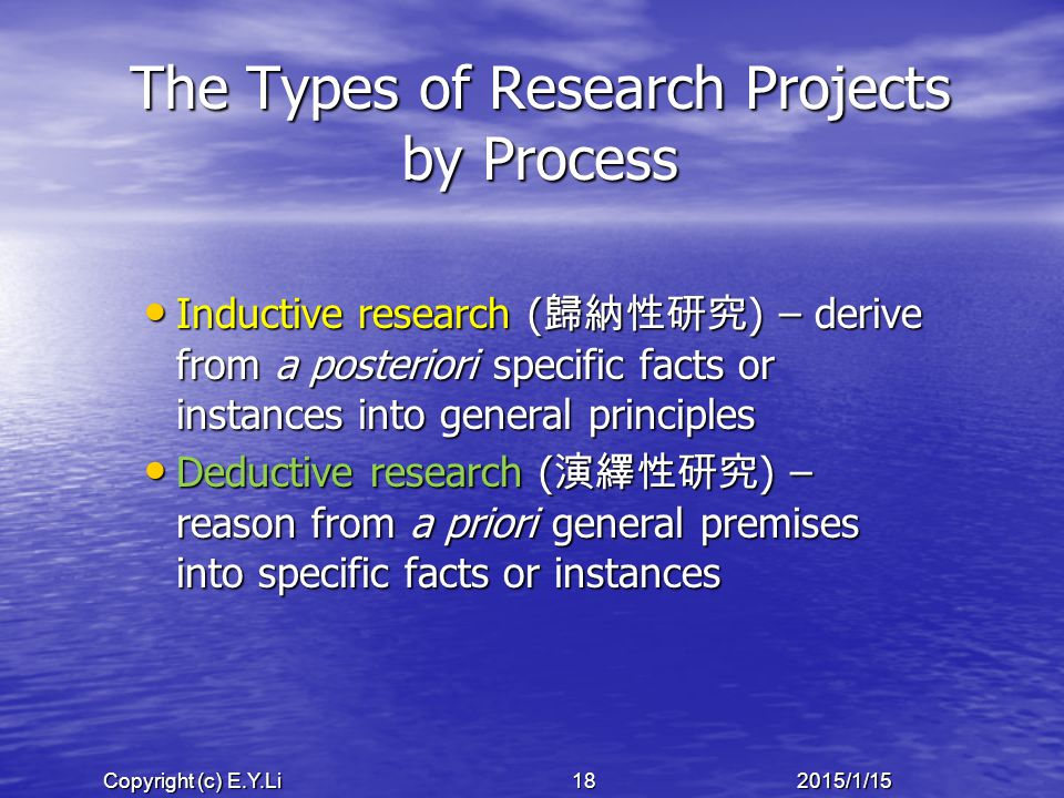 Copyright (c) E.Y.Li 182015/1/15 The Types of Research Projects by Process Inductive research ( 歸納性研究 ) – derive from a posteriori specific facts or instances into general principles Inductive research ( 歸納性研究 ) – derive from a posteriori specific facts or instances into general principles Deductive research ( 演繹性研究 ) – reason from a priori general premises into specific facts or instances Deductive research ( 演繹性研究 ) – reason from a priori general premises into specific facts or instances