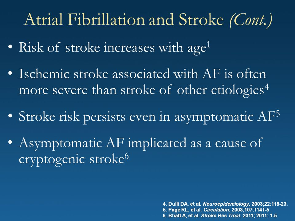 Risk of stroke increases with age 1 Ischemic stroke associated with AF is often more severe than stroke of other etiologies 4 Stroke risk persists eve