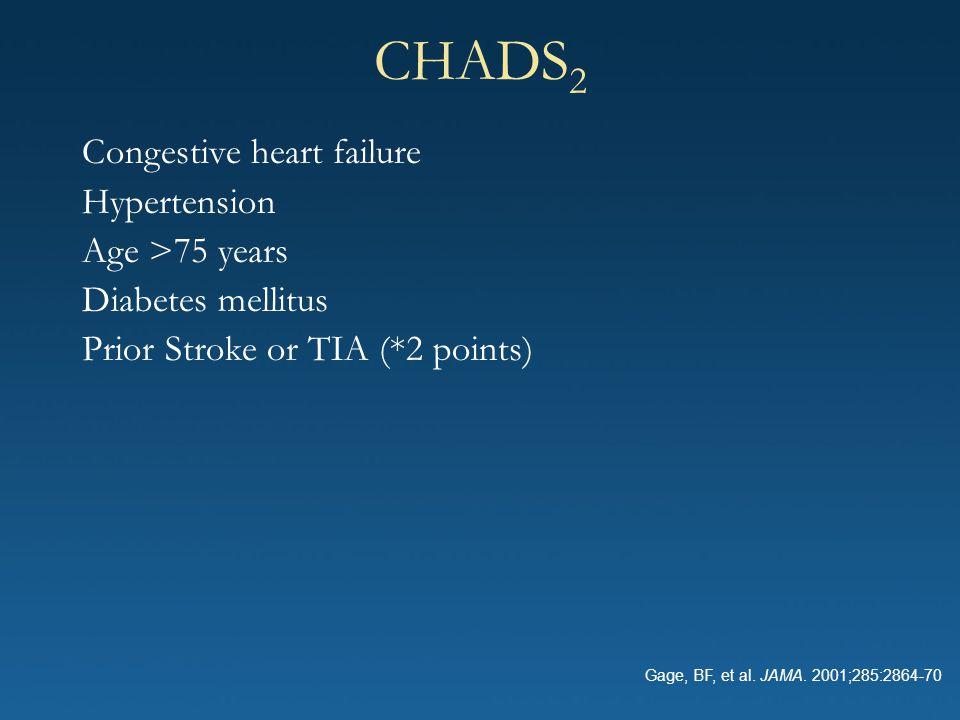 CHADS 2 Congestive heart failure Hypertension Age >75 years Diabetes mellitus Prior Stroke or TIA (*2 points) Gage, BF, et al. JAMA. 2001;285:2864-70
