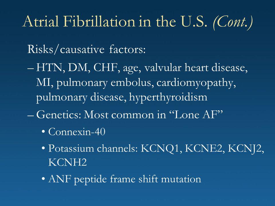 Risks/causative factors: –HTN, DM, CHF, age, valvular heart disease, MI, pulmonary embolus, cardiomyopathy, pulmonary disease, hyperthyroidism –Geneti