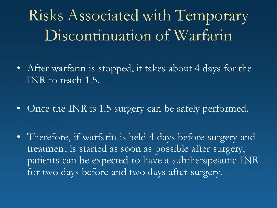 Risks Associated with Temporary Discontinuation of Warfarin After warfarin is stopped, it takes about 4 days for the INR to reach 1.5. Once the INR is