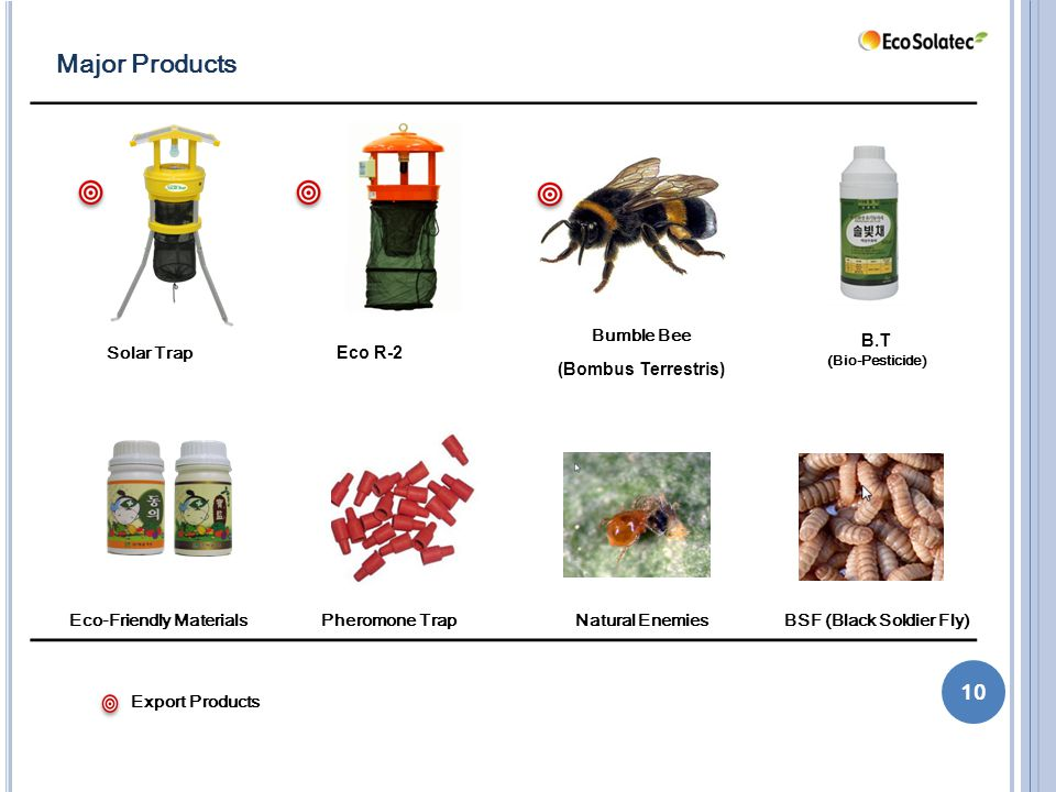 10 Major Products Solar Trap Eco R-2 Bumble Bee (Bombus Terrestris) B.T (Bio-Pesticide) Eco-Friendly Materials Pheromone TrapNatural EnemiesBSF (Black Soldier Fly) Export Products