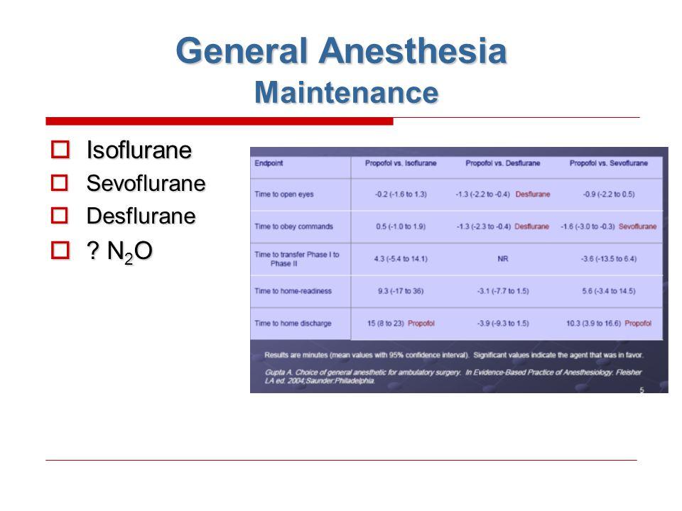 General Anesthesia Maintenance  Isoflurane  Sevoflurane  Desflurane  ? N 2 O