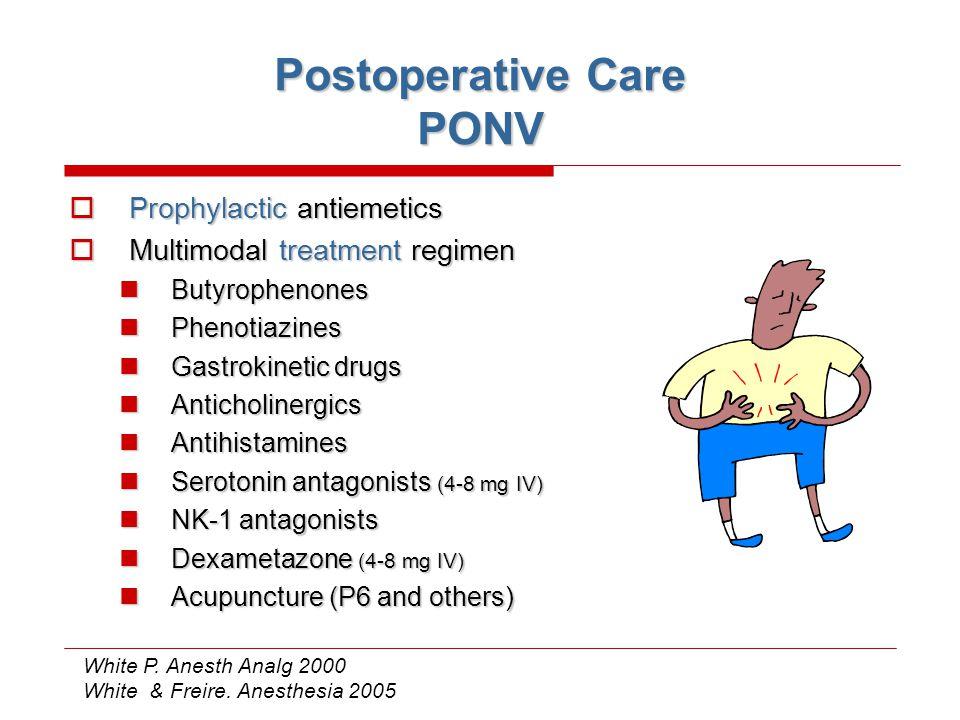 Postoperative Care PONV  Prophylactic antiemetics  Multimodal treatment regimen Butyrophenones Butyrophenones Phenotiazines Phenotiazines Gastrokine