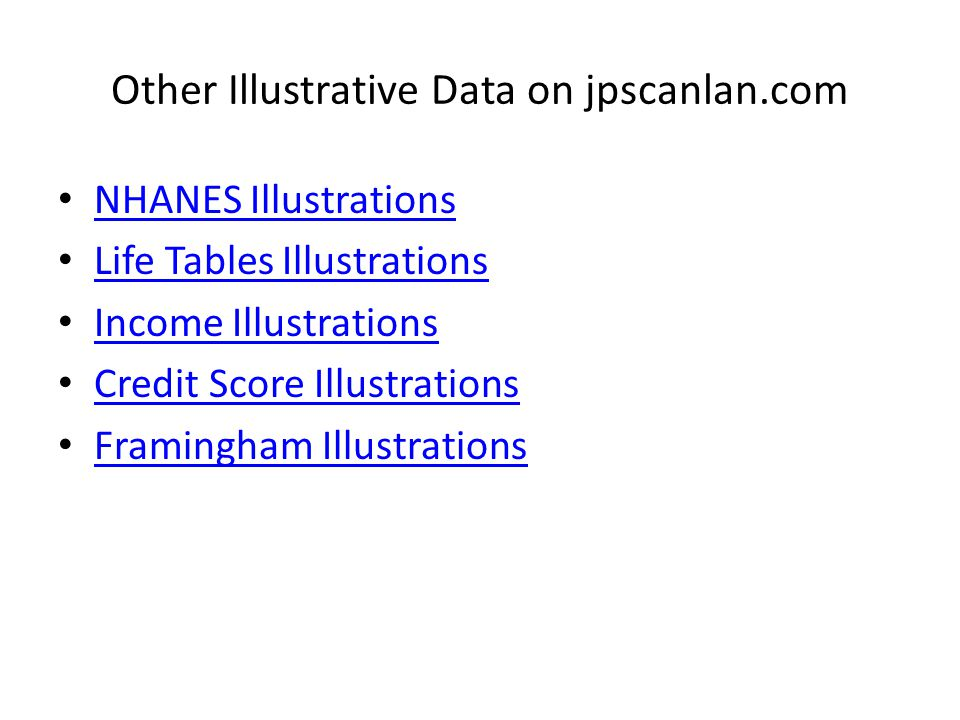 Other Illustrative Data on jpscanlan.com NHANES Illustrations Life Tables Illustrations Income Illustrations Credit Score Illustrations Framingham Illustrations
