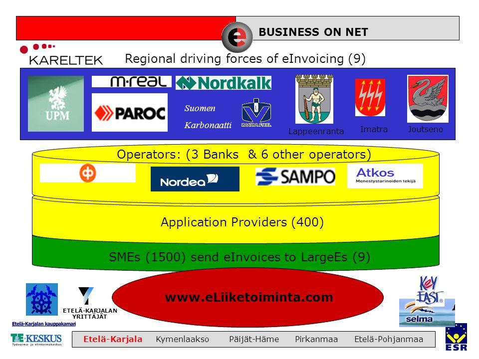 LIIKETOIMINTA Etelä-Karjala Kymenlaakso Päijät-Häme Pirkanmaa Etelä-Pohjanmaa www.eLiiketoiminta.com ETELÄ-KARJALAN YRITTÄJÄT ImatraJoutseno Lappeenranta BUSINESS ON NET Suomen Karbonaatti Operators: (3 Banks & 6 other operators) Application Providers (400) Regional driving forces of eInvoicing (9) SMEs (1500) send eInvoices to LargeEs (9)
