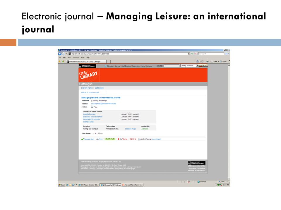 Electronic journal – Managing Leisure: an international journal