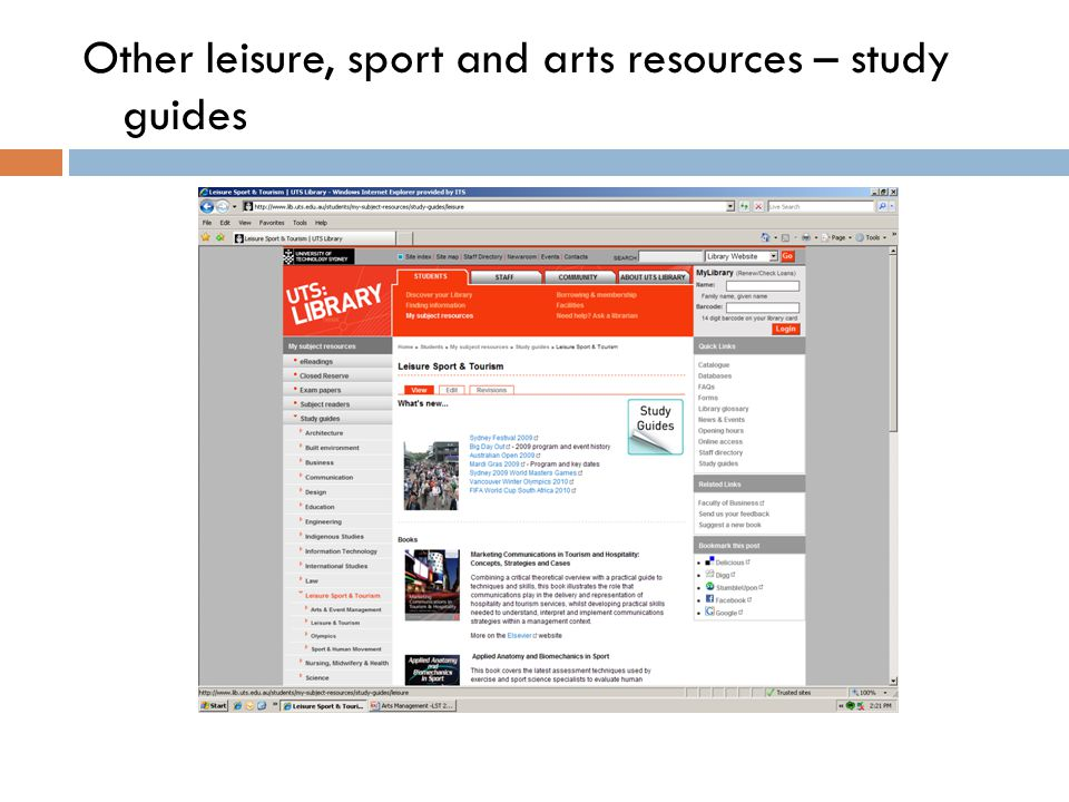 Other leisure, sport and arts resources – study guides