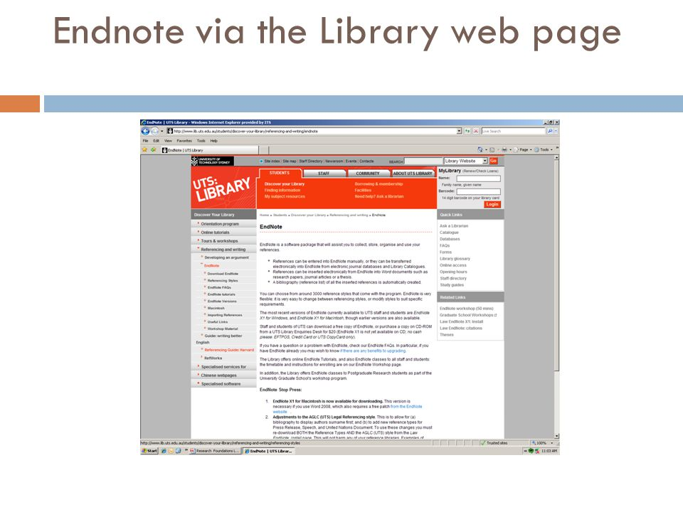 Endnote via the Library web page