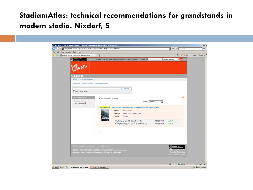 StadiamAtlas: technical recommendations for grandstands in modern stadia. Nixdorf, S