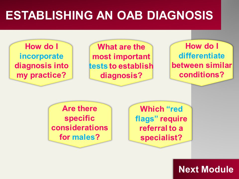 ESTABLISHING AN OAB DIAGNOSIS How do I incorporate diagnosis into my practice? What are the most important tests to establish diagnosis? How do I diff