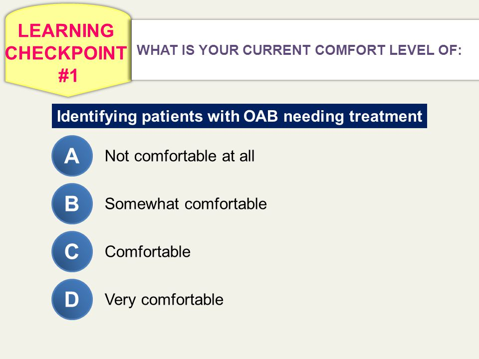 LEARNING CHECKPOINT #1 WHAT IS YOUR CURRENT COMFORT LEVEL OF: Identifying patients with OAB needing treatment A Not comfortable at all Somewhat comfor