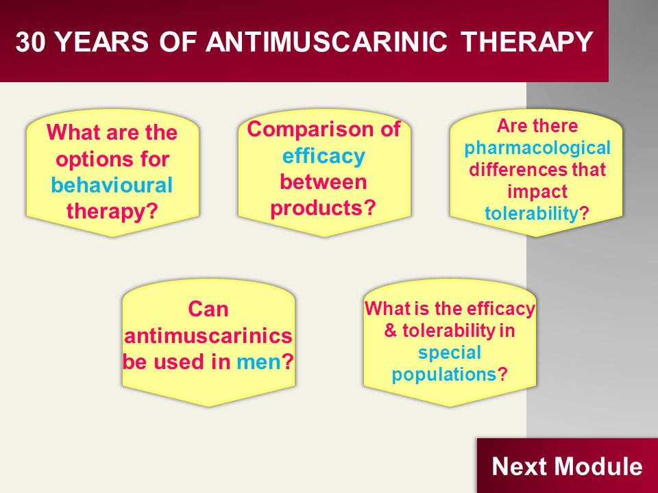 30 YEARS OF ANTIMUSCARINIC THERAPY What are the options for behavioural therapy? Comparison of efficacy between products? Can antimuscarinics be used