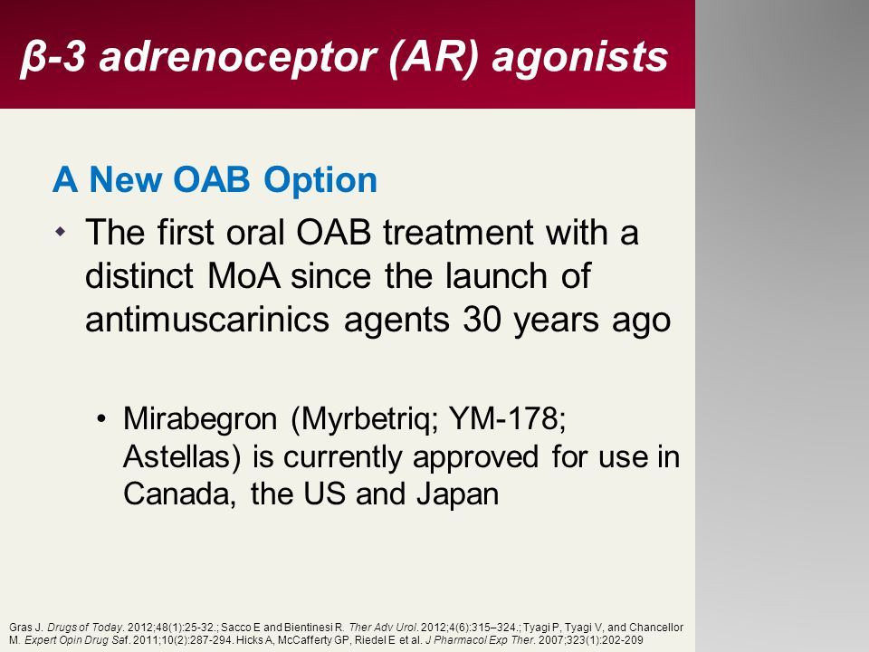 β-3 adrenoceptor (AR) agonists A New OAB Option  The first oral OAB treatment with a distinct MoA since the launch of antimuscarinics agents 30 years