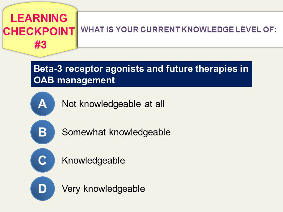 LEARNING CHECKPOINT #3 WHAT IS YOUR CURRENT KNOWLEDGE LEVEL OF: Beta-3 receptor agonists and future therapies in OAB management Not knowledgeable at a