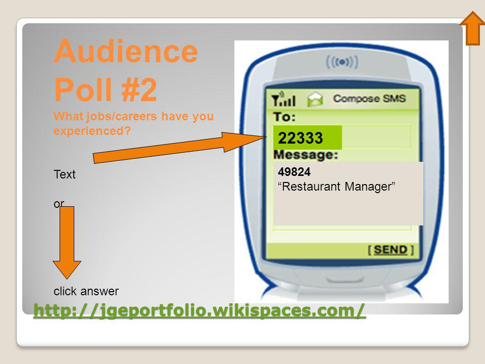 "http://jgeportfolio.wikispaces.com/ 22333 49824 ""Restaurant Manager"" Audience Poll #2 What jobs/careers have you experienced? Text or click answer"