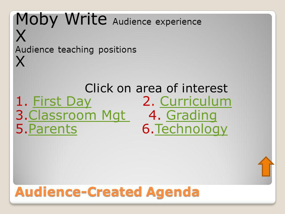 Audience-Created Agenda Moby Write Audience experience X Audience teaching positions X Click on area of interest 1. First Day 2. CurriculumFirst DayCu