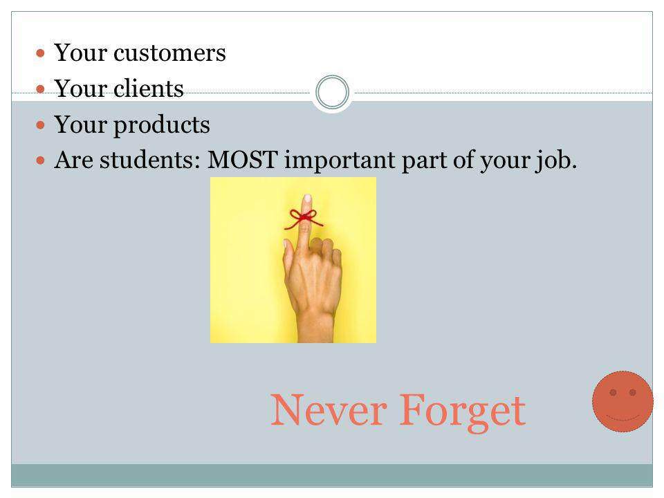Never Forget Your customers Your clients Your products Are students: MOST important part of your job.