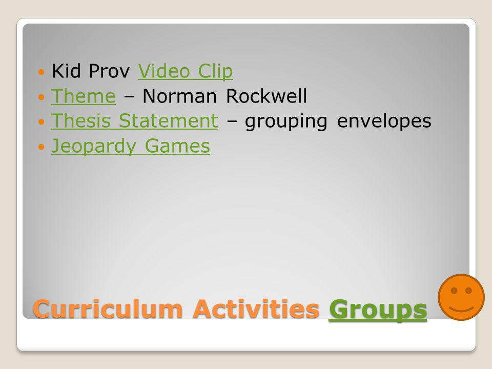 Curriculum Activities Groups Groups Kid Prov Video ClipVideo Clip Theme – Norman Rockwell Theme Thesis Statement – grouping envelopes Thesis Statement Jeopardy Games