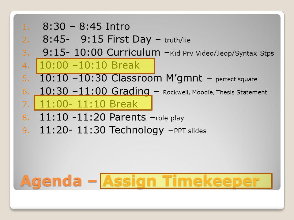 Agenda – Assign Timekeeper 1. 8:30 – 8:45 Intro 2. 8:45- 9:15 First Day – truth/lie 3. 9:15- 10:00 Curriculum – Kid Prv Video/Jeop/Syntax Stps 4. 10:0