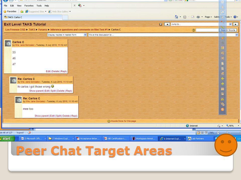 Peer Chat Target Areas